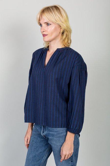 Apiece Apart Marit Shirred Blouse - Winter Stripes