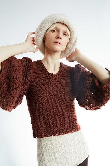 Tach Clothing Lia Crochet Wool Sweater - Brown