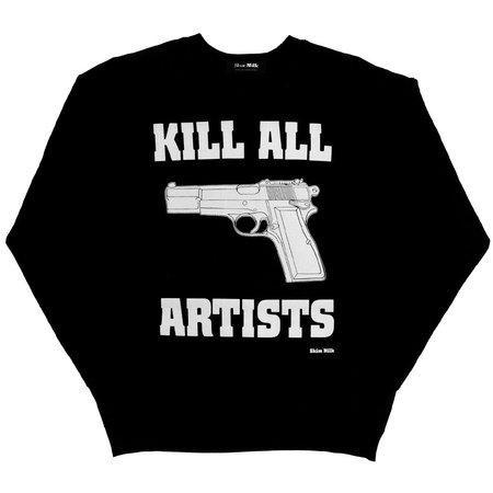 Unisex Skim Milk Kill All Artists Sweater - Black