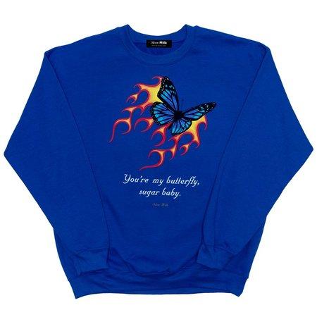 Unisex Skim Milk You're My Butterfly sweater - royal blue