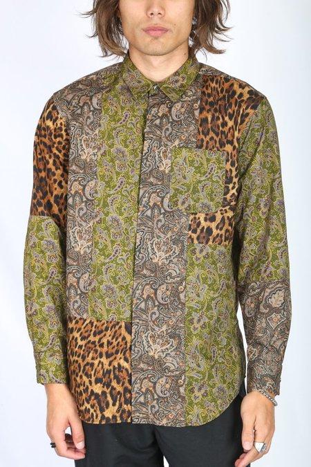 Engineered Garments Combo Short Collar Shirt - Olive/Purple Paisley