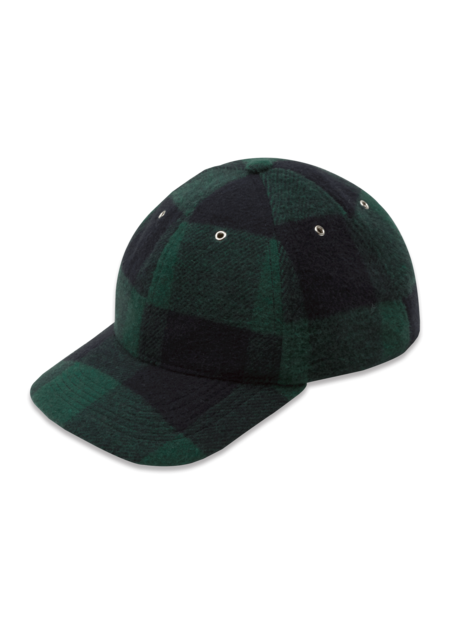 YMC Wool Blend Check Baseball Cap - Blue/Green