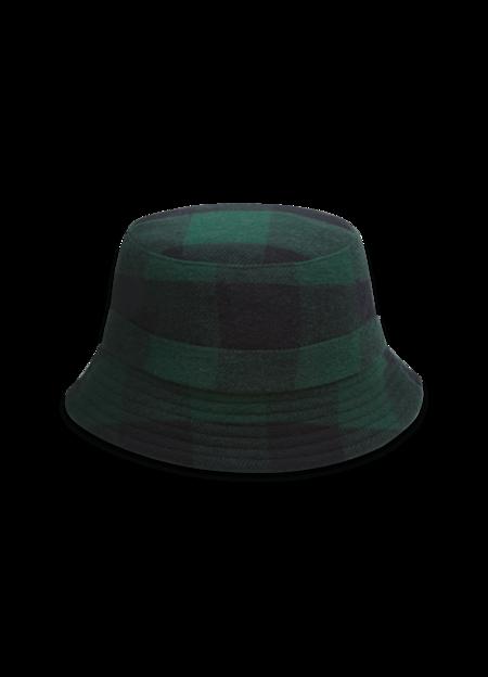 YMC Men's Wool Blend Check Bucket Hat -  Blue Green