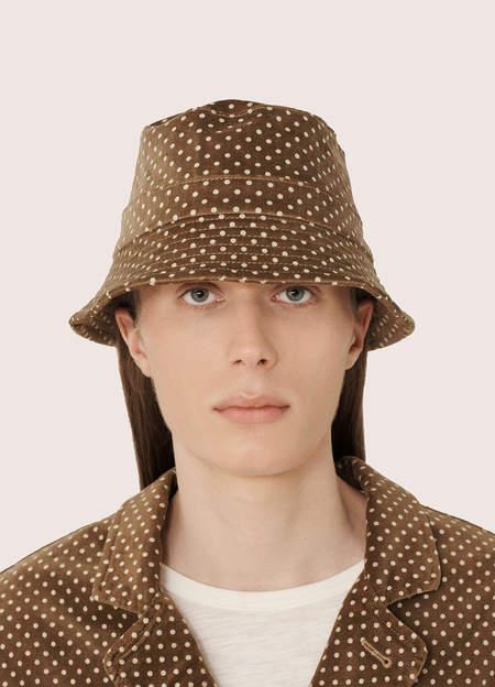 YMC Men's Cotton Velvet Dot Print Bucket Hat - Camel