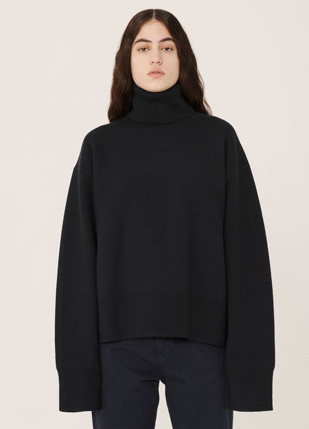 YMC Anders Wool Double Face Knitted Jumper - Navy