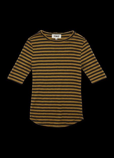YMC Charlotte Cotton Stripe Short-sleeve T-Shirt - Black Camel