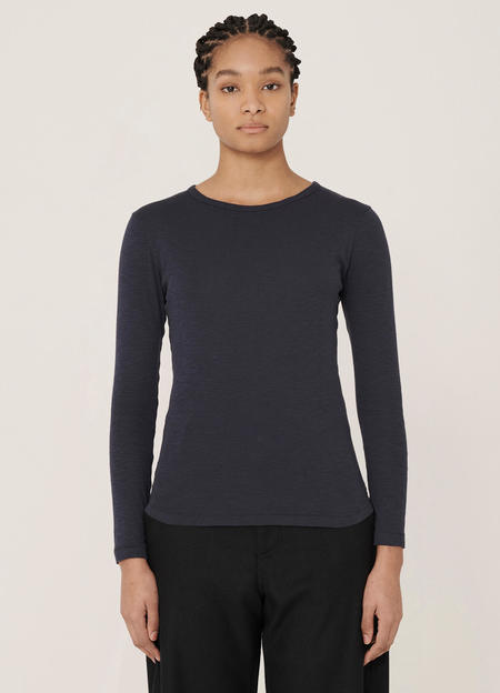 YMC Charlotte Rib Cotton Slub Jersey Long-Sleeve T Shirt - Navy