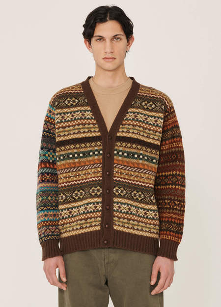 YMC McCartney Shetland Wool Fairisle Cardigan - Green Multi