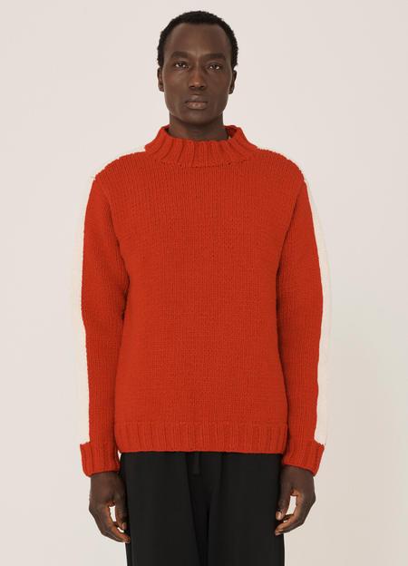 YMC Bluto Lambswool Knitted Jumper - Red Ecru