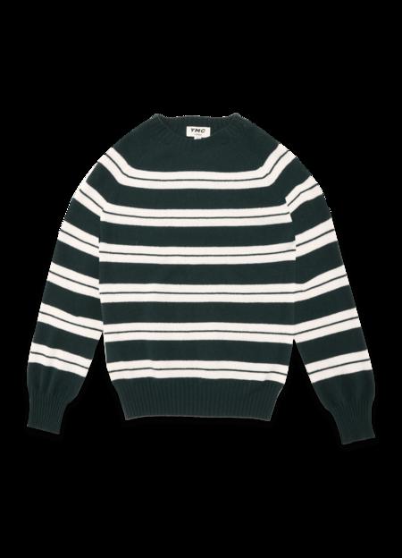 YMC Suedehead Fine Lambswool Stripe Crew Knitted Jumper - Green White