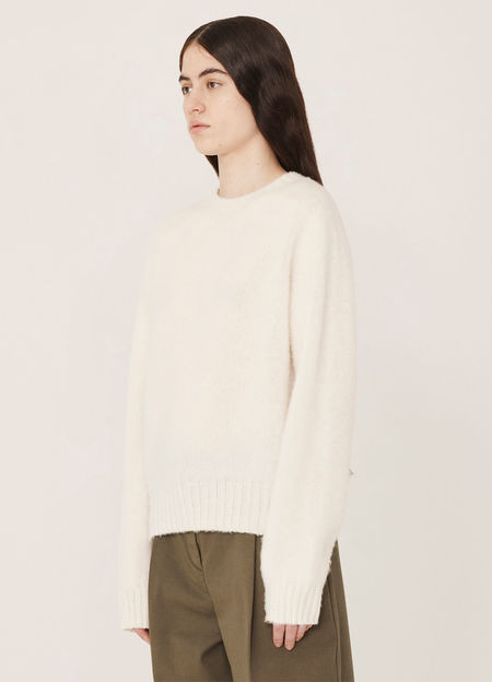 YMC Jets Brushed Lambswool Crew Knitted Jumper - White