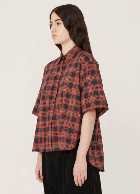 YMC Eva Cotton Scotwill Tartan Shirt - Navy Red