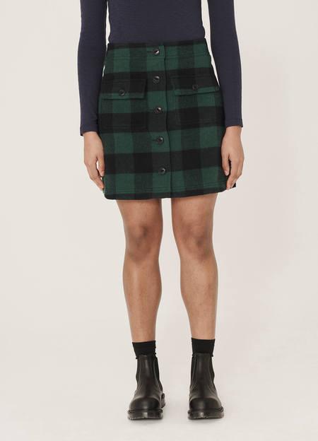YMC Rapture Wool Blend Check Skirt - Blue Green