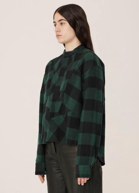 YMC Juju Wool Blend Check Shirt - Blue Green