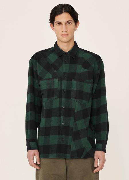 YMC Mitchum Wool Blend Check Shirt - Blue Green