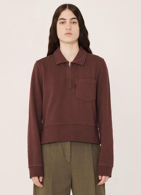 YMC Sugden Cotton Loopback Sweatshirt - Burgundy