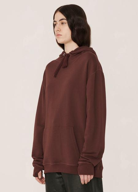 YMC Trugoy Organic Cotton Loopback Sweatshirt Hoody - Burgundy