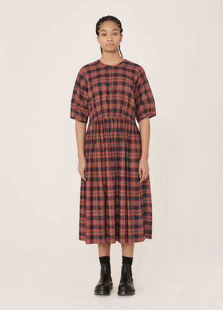YMC Garden Cotton Scotwill Tartan Dress - Navy Red