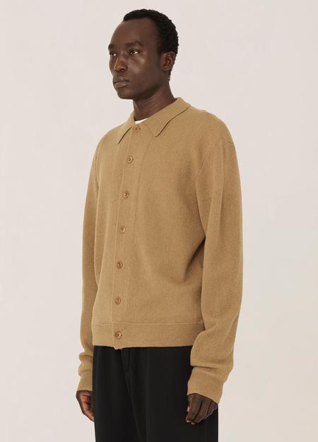 YMC Rat Pack Merino Wool Pique Knit Cardigan - Camel