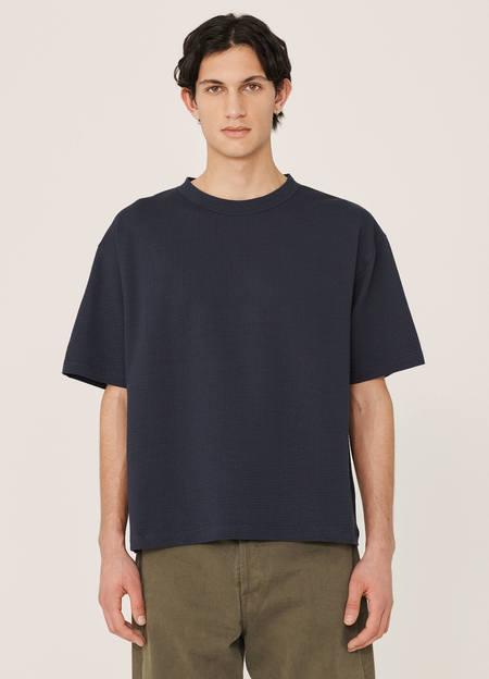 YMC Triple Organic Cotton Seersucker T Shirt - Navy