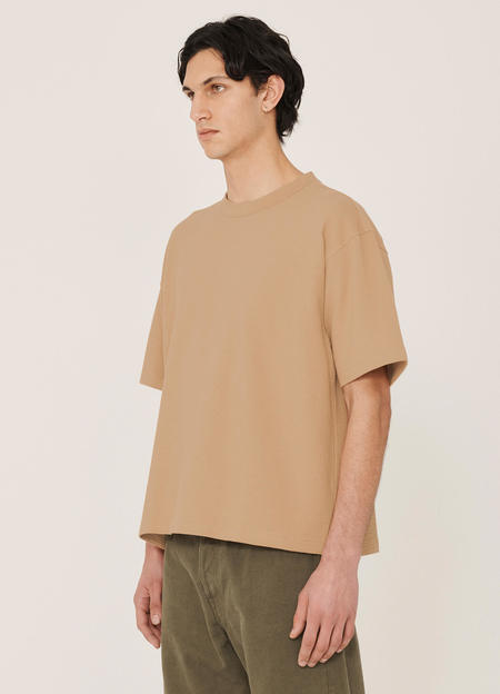 YMC Triple Organic Cotton Seersucker T Shirt - Camel
