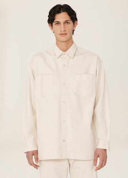 Vintage YMC Slacker Cotton Twill Selvedge Shirt - Ecru