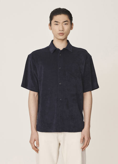 YMC Screech Organic Cotton Towelling Shirt - Navy