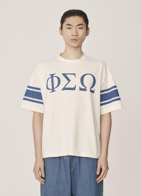 YMC Triple Perforated Cotton Jersey Printed T-Shirt - Ecru