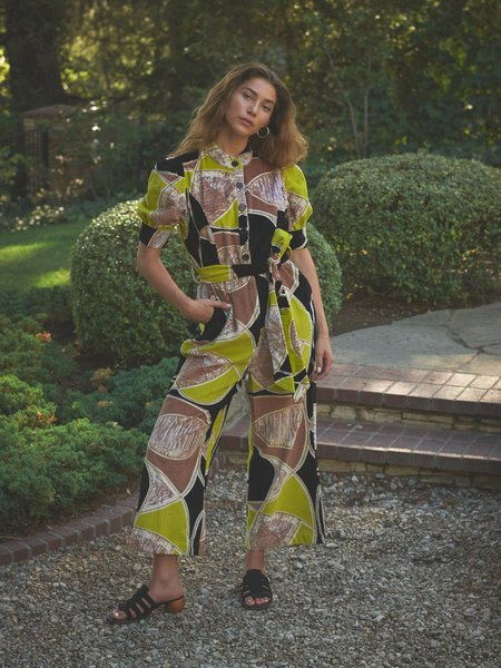 THE ODELLS Laurie Jumpsuit - CHARTREUSE MULTI