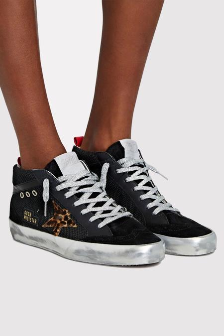 Golden Goose Mid Star Sneaker - Black Net Upper Leopard Horsey Star