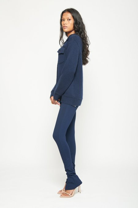 Michaela Button Jacket-Navy Blue