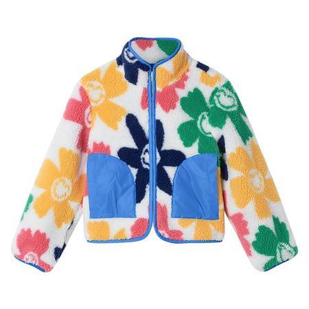 Stella McCartney Child Teddy Jacket Smiley Flowers Print Multicolour