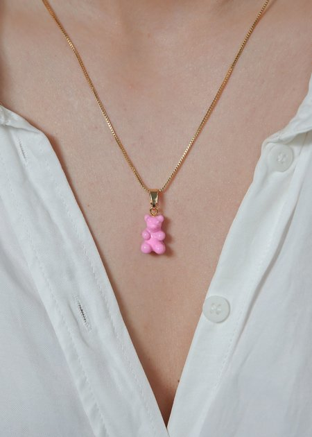 Crystal Haze Nostalgia Bear Pendant - Candy Pink