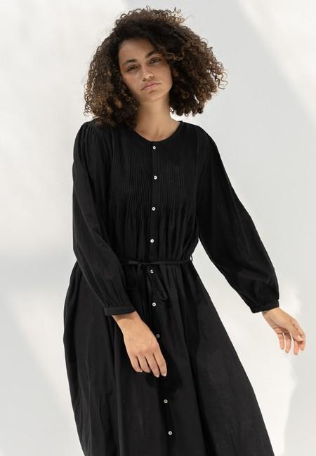 ICHI ANTIQUITES 601239 KHADI COTTON DRESS - BLACK