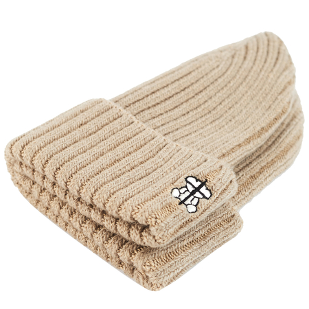 Undercover Logo Rib-Knit Beanie - Beige