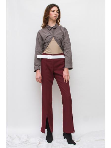 Andrea Jiapei Li Split Front Pants with Buckle Belt