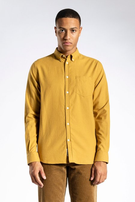 Norse Projects Anton Brushed Flannel Shirt - Brass Yellow