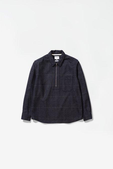 Norse Projects Elof wool Shirt - dark navy check