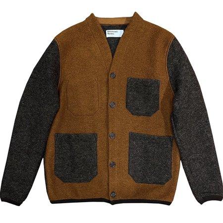 UNIVERSAL WORKS Contrast Wool Fleece Cardigan - Rust/Brown