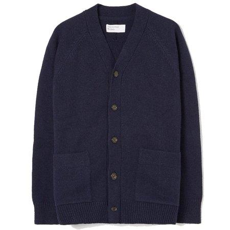 Universal Works Vince Recycled Wool Fleece Cardigan - Navy