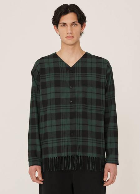 YMC Mays Cotton Buffalo Check Fringe Hem Shirt - Black/Green