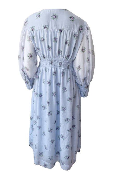 Ganni Organza Floral Smock Dress - Heather
