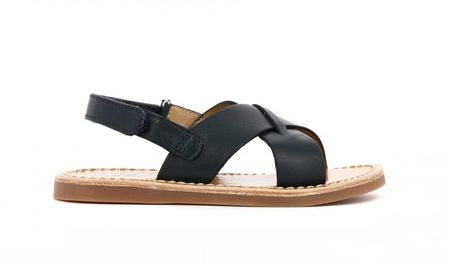 Kid's Pom D'Api Plage Stitch Navy Leather Sandal