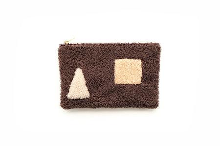 Primecut Brown Shapes Patchwork Sheepskin Clutch