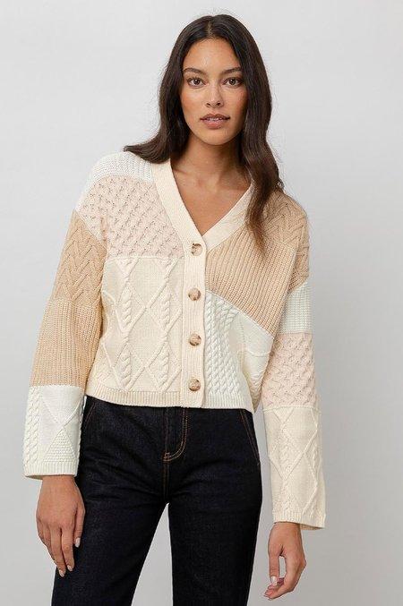 Rails Reese Boxy Cardigan - Cream patchwork