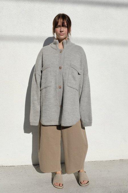 Monica Cordera Ecowool Polo Jacket - Silver Grey