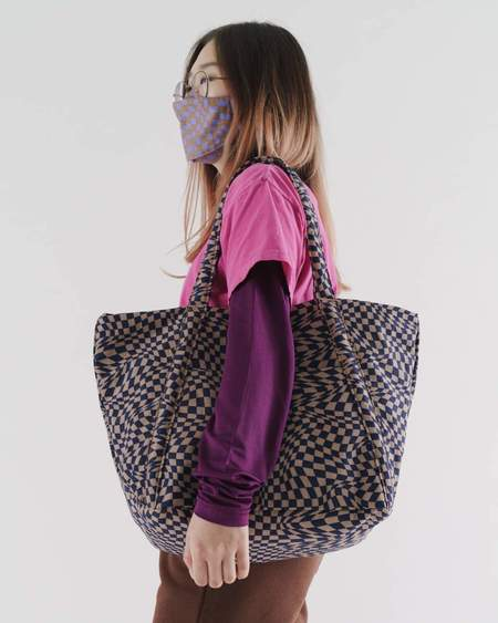 BAGGU Indigo Trippy Checker Cloud Bag - Brown