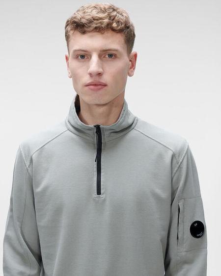 CP company Light Fleece Quarter-Zip Sweatshirt - Moon Mist