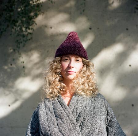 good night, day Lanark diagonal ribbed toque of silk + alpaca + merino wool (shown in dark plum)