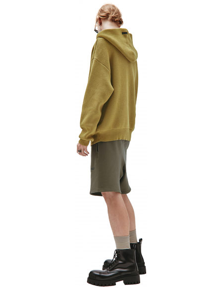 Fear of God Essentials Logo KNIT Hoodie sweater - yellow